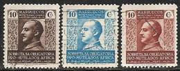 MARRUECOS-BENEFICENCIA-1937-1939-ED. 1 A 3 - SERIE COMPLETA - PRO MUTILADOS DE GUERRA. GENERAL FRANCO- - Spanish Morocco