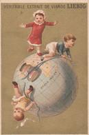 Chromo Liebig Fond Doré - Mappemonde Enfants - Liebig