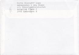 Denmark Embassy ABU DHABI C/o Foreign Ministery Slogan KØBENHAVN K. 1989 Cover Brief 3 Kr. Staatwappen Lions Arms Stamp - Cartas