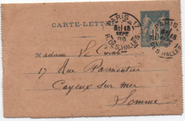 Entier 15c SAGE Oblitération DAGUIN Jumelé PARIS-17 R. Des Halles 1886 SUP! - 1877-1920: Periodo Semi Moderno