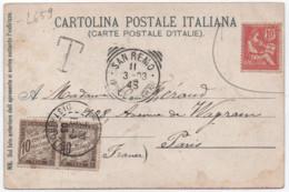 Timbre 10c MOUCHON Utilisé En Italie Non Valable San Remo 1903 TAXE PARIS DISTRIBUTION Paire Banderole Duval - Storia Postale