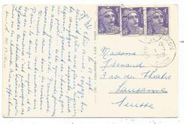 GANDON 4FR VIOLETX3 CARTE DUN CHER 13.9.1948 POUR SUISSE AU TARIF - 1945-54 Marianne (Gandon)