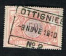 BELGIO (BELGIUM)   -   SG P102  -  1895 RAILWAY STAMP:  50 COLOUR VIOLET INSTEAD OF BLACK    - USED - Non Classés