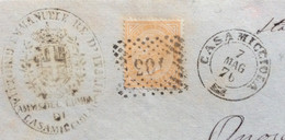 ISOLA D'ISCHIA - CASAMICCIOLA 7 MAG 76 D.c. + PUNTI SU 10 C. -. PIEGO PER CIVITAVECCHIA CON ANNULLI AL RETRO - Marcophilie