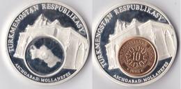 Turkménistan  Médaille Ou Jeton  Turkménistan Ashgabat Mollanepes Avec Une Pièce De Monnaie De 10 Tenge 1993 Qualite BE - Turkmenistan