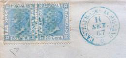 CAMPANIA - CASTELFRANCO IN MISCANO 11 SET 67 D.c. + PUNTI SU Coppia 20 C.(d.l.r.) Colore Blu Firmato DIENA - RR - Marcophilie