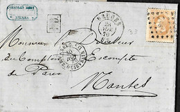 Belgique. LAC TP 33 Bruges > Nantes 28/11/1870  Belg. Amb. Quiévrain D (VdL 550)  France/ Ouest 3 - 1869-1883 Leopold II