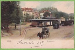 Rare CPA Précurseur BASEL BIRSIGTHALBAHN Bale Gare Train Tramway Animé Voyagée 1904 ! Pli Angle Bas Gauche ! - BS Bâle-Ville