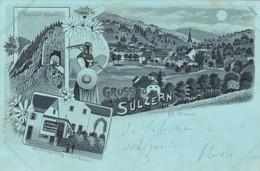 SULZERN - SOULTZEREN - HAUT-RHIN -  (68) - LITHOGRAPHIE 1900...TAMPONS. - Andere Gemeenten