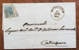 CALABRIA -  GERACE 14 APR 1866  + Punti Su 20 C.(d.l.r.)  - PIEGO PER CATANZARO CON TIMBRI AL RETRO - Marcophilie