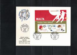 Malta 1986 World Football Cup Mexico Block FDC - 1986 – Mexico