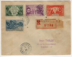 Moyen-Congo : Brazzaville : Lettre Recommandée: Expo.Col. Paris 1931: No 109/112 - 1931 Exposition Coloniale De Paris