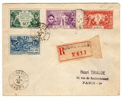 Gabon : Libreville : Lettre Recommandée: Expo.Col. Paris 1931: No 121/124 - 1931 Exposition Coloniale De Paris