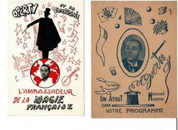 2 CARTES PUB OPERTY Magicien Professeur De Réginald Black Fingers . Le MANS MAGIE - Unclassified