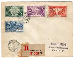Madagascar : Tamatave : Lettre Recommandée: Expo.Col. Paris 1931: No 179/182 - 1931 Exposition Coloniale De Paris