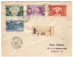 Haute-Volta : Koudougou : Lettre Recommandée: Expo.Col. Paris 1931: No 179/182 - 1931 Exposition Coloniale De Paris