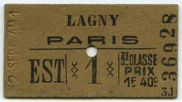 """Guerre De 1939-45 . Ticket De Train Lagny-Paris Annoté """"jour Des Ponts Sautés"""" (14 Juin 1940) . - Europa"""