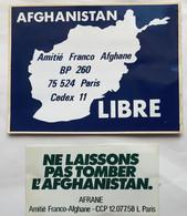 AFGHANISTAN GUERRE DEUX AUTOCOLLANTS CONTRE L'INVASION   NEUFS AVEC FILM DE PROTECTION   VINTAGE TRES BON ETAT - Afghanistan