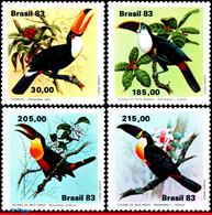 Ref. BR-1857-60 BRAZIL 1983 BIRDS, TOUCANS, FAUNA,, MI# 1964-67, SET MNH 4V Sc# 1857-1860 - Pelicans