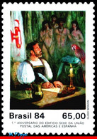Ref. BR-1923 BRAZIL 1984 PAINTINGS, FIRST LETTER MAILED,, BUILDING UPAEP, PARROT, MI# 2044, MNH 1V Sc# 1923 - Parrots