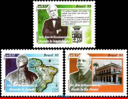 Ref. BR-2530-32 BRAZIL 1995 FAMOUS PEOPLE, POLITICIANS, MAPS,, MI# 2639-2641, SET MNH 3V Sc# 2530-2532 - Otros