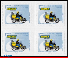 Ref. BR-3101A-Q BRAZIL 2011 PHILATELY, SEDEX BR, MOTORCYCLE,, POST SERVICES, 2009 MODEL, BLOCK MNH 1V Sc# 3101A - Posta