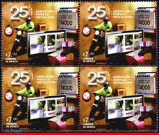 Ref. MX-2747-Q MEXICO 2011 POST, 25TH ANNIV.POSTAL SERVICE, , MOTORCYCLE, COMPUTER, BLOCK MNH 4V Sc# 2747 - Informatica