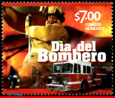 Ref. MX-2879 MEXICO 2014 TRANSPORT, DAY OF FIREFIGHTER,, TRUCK, MNH 1V Sc# 2879 - Sapeurs-Pompiers