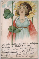 FEMME ART NOUVEAU - Verlag Carl Baum Frankfurt  - Precursseur Circulée 1900 - Ante 1900