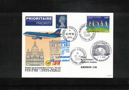 Andorra 2000 Lufthansa First Flight Boeing 737  Paris CDG - London - Cartas