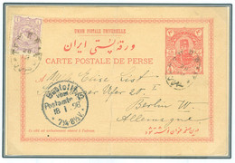 Persia - Persien - Iran - Middle East 1897; 4 Chahis Postal Card With Additional One Shahi Stamp - Irán
