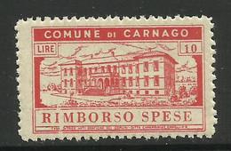 CARNAGO ( Varese) 10 LIRE RIMBORSO SPESE, MARCA DA BOLLO COMUNALE, REVENUE, MUNICIPAL STAMP. Rif. 50 - Otros