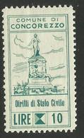 CONCOREZZO (monza Brianza) 10 LIRE STATO CIVILE, MARCA DA BOLLO COMUNALE, REVENUE, MUNICIPAL STAMP. Rif. 51 - Otros
