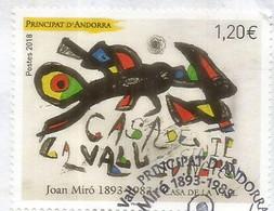 """Tableau Joan Miro """"Casa De La Vall"""", Un Timbre Oblitéré.1 ère Qualité, Année 2018 - Used Stamps"""