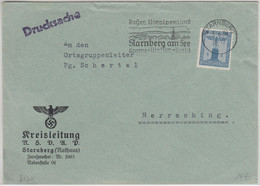 DR - 4 Pfg. Adler/Sockel Drucksache NSDAP Kreisleitung Starnberg Herrsching 1939 - Officials