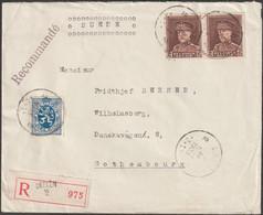 Belgique 1933 COB 322 X 2, 4.50 F Lettre Recommandée Laeken 2 à Göteborg - Cartas
