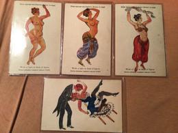 Carte Système Tourner Une Lumière Devant Le Sujet, édition Lambert X 4 Femme Nue - Cartoline Con Meccanismi