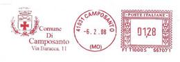 ITALIA - 2008 Comuni Italia: CAMPOSANTO (MO) - Stemma: Croce E Due Spade - Ema Affrancatura Meccanica Rossa Red Meter - Marcophilie - EMA (Empreintes Machines)