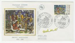 """{68272} FDC Enveloppe 1er Jour , Soie , Front Populaire Fernand Léger """" Les Loisirs """" , Paris 1er Février. 1986 , 2,20 F - 1980-1989"""