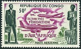 Congo Brazzaville République 1961 Création Air Afrique Boeing 707 - Airplanes