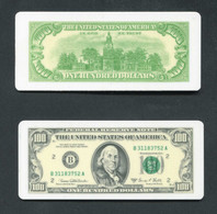 Lot De 2 Jetons De Poker En Matère Plastique Repliques De Billets De 100 Dollars - Jeton Poker Token - Casino