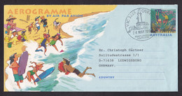 Australia: Stationery Aerogramme To Germany, 1996, Tourism, Diving, Beach, Surf Board, Cancel Lighthouse (traces Of Use) - Lettres & Documents