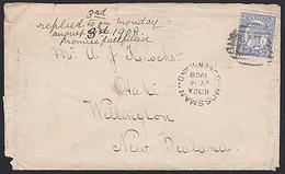 QUEENSLAND - NEW ZEALAND QV 2d 1908 MOSSMAN COVER - Briefe U. Dokumente