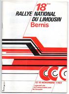 Brochure 18e Rallye National Du Limousin Bernis 1983 Réglement, Plan Et Itinéraires Des Spéciales - Programma's