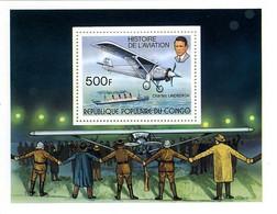 Congo Brazzaville République 1977 75 Years Motorized Flight Vol Motorisé RYAN NYP Spirit Of St Louis Charles Lindbergh - Aerei