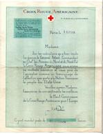 Document Rare Daté Du 7 Septembre 1919 Du Haut Commissaire De La Croix Rouge Américaine. Thème Pétain Etats Unis. - Documenti Storici