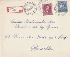 Poortman + Open Kraag Op Aangetekende Briefvoorzijde / Devant De Lettre STATTE (HUY) 1952 - 1936-1951 Poortman