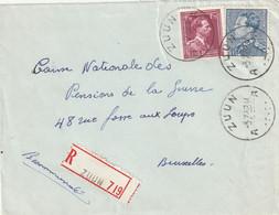 Poortman + Open Kraag Op Aangetekende Briefvoorzijde / Devant De Lettre ZUUN 1952 - 1936-1951 Poortman