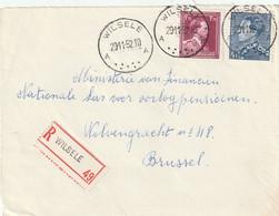 Poortman + Open Kraag Op Aangetekende Briefvoorzijde / Devant De Lettre WILSELE 1952 - 1936-1951 Poortman