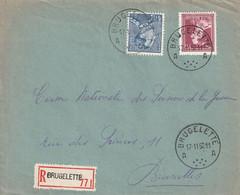 Poortman + Open Kraag Op Aangetekende Briefvoorzijde / Devant De Lettre BRUGELETTE 1952 - 1936-1951 Poortman